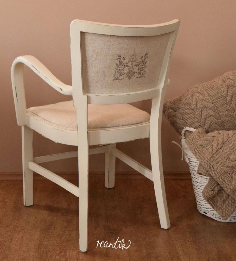 szék - antik kéziszövött lenvászon kárpittal és transzfermintával
