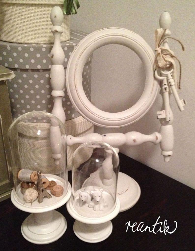 régi tükör antikolva - old white színben