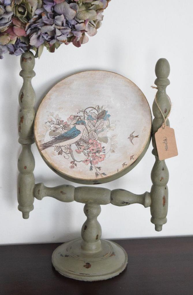 régi tükör antikolva - french grey színben hátulról