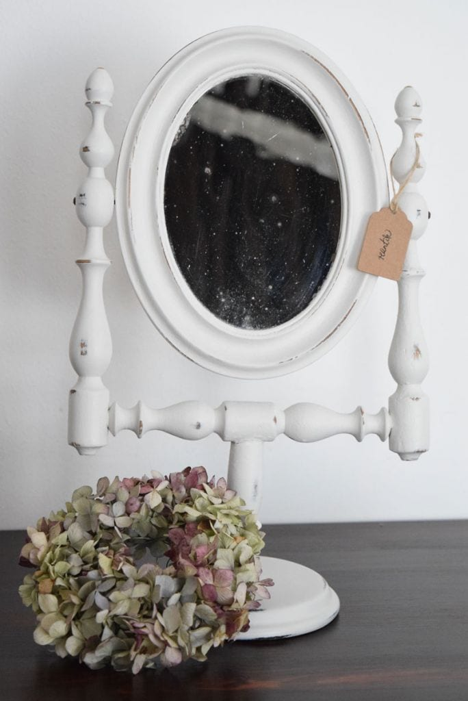 régi ovális tükör - light grey színben