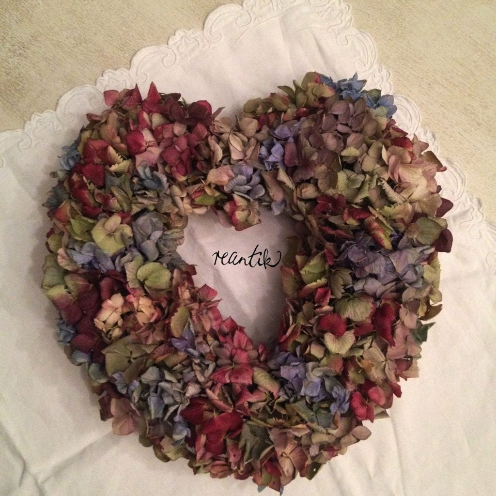 hortenzia szív alakú dekoráció